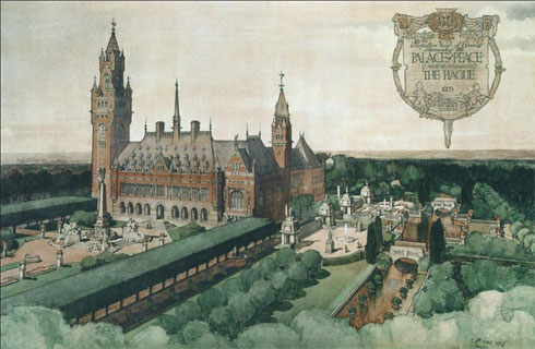 Figure 4: Robert Atkinsons presentation watercolour of Mawsons gardens for the Peace Palace at The Hague, 1908. The unexpectedly high cost of preparing the site meant that most of the architectural embellishments were abandoned, and stone was replaced by brick. From: Waymark, Thomas Mawson, 65.